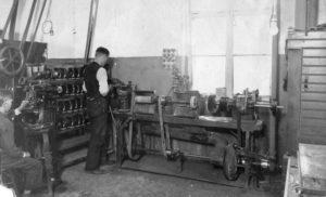 Linbergin kenkätehdas toimi Koskenmäessä 1900-luvun puolivälissä.