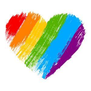 Sydän sateenkaaren väreissä.