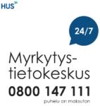 Myrkytystietokeskuksen puhelinnumero on 0800147111.