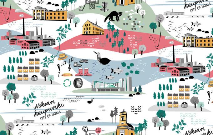 Nokian kuosissa on leikkisällä piirrostyylillä kuvattuna kaupungin luontoa, eläimiä ja maamerkkejä.