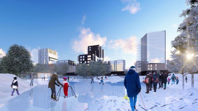 Havainnekuva tulevaisuuden Poutunpuistosta talvisena tapahtumapuistona.