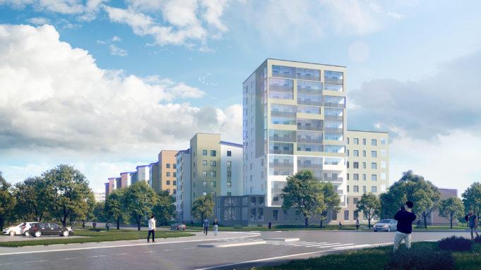 Havainnekuva Poutuntien kuudesta uudesta kerrostaloista. Etualalla 12-kerroksinen kerrostalo ja taka-alalla näkyy viisi muuta 7-kerroksista kerrostaloa. Talojen ympärillä on jalkakäytävät jalankulkijoineen, puita sekä nurmialueita.