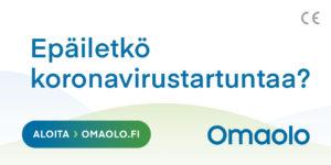 Omaolon koronavirusepäilyn testaus -banneri.