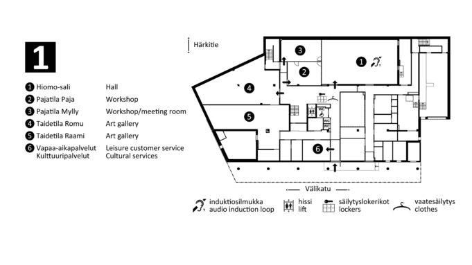 Nokian kaupungin kirjasto- ja kulttuuritalo Virran esteetön sisäänkäynti sijaitsee ensimmäisessä kerroksessa rakennuksen Välikadun puoleisella seinustalla. Sisäänkäynti sijaitsee rakennuksen keskellä vammaispysäköintipaikkojen edessä. Astuttaessa sisään ensimmäiseen kerrokseen heti vasemmalla on kulttuuri- ja vapaa-aika-palveluiden toimiston sisäänkäynti. Toimiston jälkeen käytävän vasemmalta puolelta löytyvät wc-tilat ja esteetön wc. Käytävän oikealla seinustalla on vaatenaulakko. Käytävä johtaa aulaan ja Hiomo-salin sisäänkäynnille. Aulasta vasemmalta löytyvät ylempiin kerroksiin johtava hissi ja kes-kusportaat sekä sisäänkäynnit paja- ja taidetiloihin. Pienet pajatilat Paja ja Mylly sijaitsevat Hiomo-salin vieressä rakennuksen kaakkoiskulmassa. Suuret taidetilat Romu ja Raami sijaitsevat pohja-kerroksen itäpäädyssä. Länsipäädyssä on toimistotiloja.