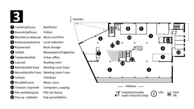 Rakennuksen kolmas kerros on pääosin yhtenäistä tilaa, jonka keskellä on hissin, keskusportaiden ja alempaan kerrokseen avautuvan valokuilun muodostama saareke. Kolmannen kerroksen sei-nustoilla on erillisiä, pienempiä tiloja. Kolmanteen kerrokseen saavuttaessa, hissin ovelta tai keskusportaista katsottuna vasem-malla on Tietotori, kopiointi, lainauspiste, lehdet, neljä erillistä työskentelytilaa ja aikuisten osasto. Tieto- ja kaunokirjallisuuden osastot muodostavat suuren yhtenäisen tilan, joka kattaa rakennuk-sen koko pohjoisen reunan. Hissin edessä viistosti vasemmalla, asiakaspäätteiden takana, sijaitse-vat vierekkäin wc-tilat ja sisäänkäynti lukusaliin. Hissistä ulos astuttaessa heti oikealla on asiakaspalvelupiste, jonka takaa löytyvät musiikki- ja elokuva-osastot, pop up -näyttelyseinä, stage sekä ryhmätyötila Eepe, jonka ovi on hissin edessä viistosti oikealla ennen musiikki- ja elokuvaosastoa. Täältä löytyvät myös kotiseutukoko-elma, musiikkihuone, kirjavarasto ja neuvottelutila Frans. Saarekkeessa hissin takana on Piki -verkkokirjasto asiakaspäätteet.