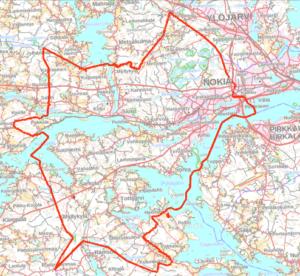 Nokian strategisen yleiskaavan suunnittelualue on merkitynä karttaan.