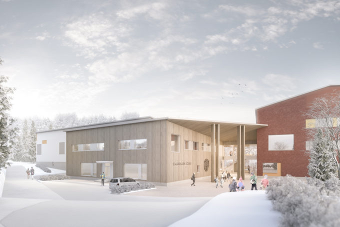 Arkkitehdin havainnekuva Emäkosken koulun sisääntulosta. Talvinen päivä ja lunta maassa. Rakennus on moderni, siinä on puupintaa ja punaista tiilipintaa. Lapset leikkivät edustalla.