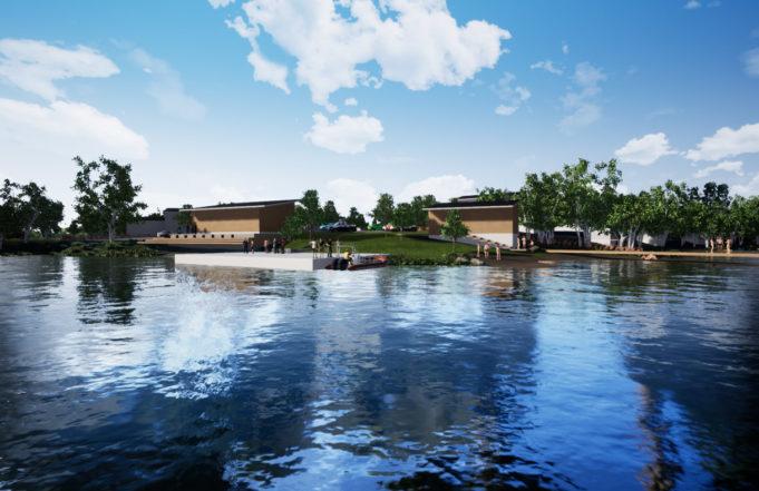 Havainnekuva näkymästä Viinikanniemen venevalkamaan ja uimapaikalle. Järven takaa näkyy laituri veneille ja rakennuksia sekä puita ja istutuksia.