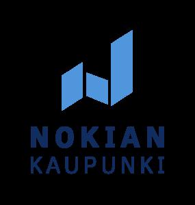 Nokian kaupungin tunnuksessa yhdistyvät logo ja Nokian kaupunki -teksti.