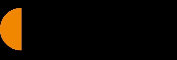 Työllisyyden kuntakokeilut logo. Oranssinen puoliympyrä teksin vasemmalla puolella ja mustalla tekstaustekstillä työllisyyden kuntakokeilut