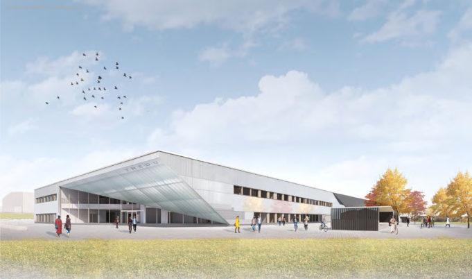 Nokian lukion ja Tredun kampuksen uuden rakennuksen havainnekuva. harmaa, moderni rakennus.