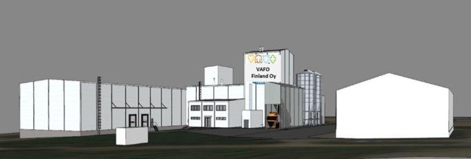 Havainnekuva Vafo Finlandin uudesta tehtaasta, jossa on iso tuotantolaitos, logistiikkakeskus sekä toimistotiloja.