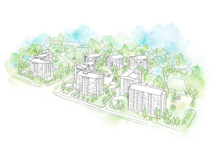Arkta rakentaa kymmenen kerrostalon korttelin, jonka sisäpihalla on oleskelutilaa ja istutuksia sekä puita.