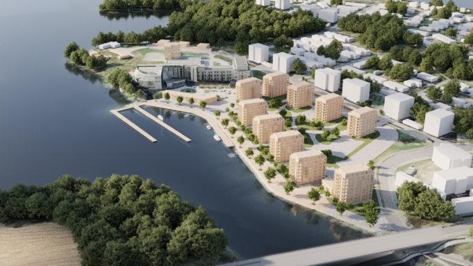 Arkkitehtitomiston havainnekuvassa on rakentuneena useita uusia kerrostaloja kylpylähotelli Edenin ympärille Pyhäjärven rannalle.
