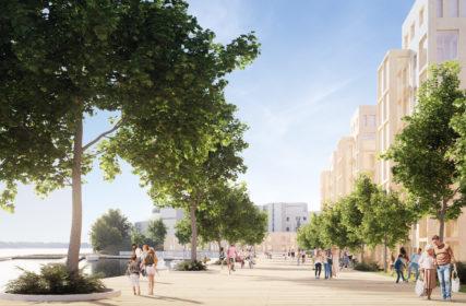 Arkkitehtitoimiston havainnekuvan Nokian sataman ja Edenin alueen rantabulevardista, jossa ihmiset kävelevät kesäisenä päivänä.